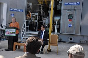 Symbion Power - Hillary Clinton delivers remarks at the Symbion Power Plant in Dar es Salaam, Tanzania.
