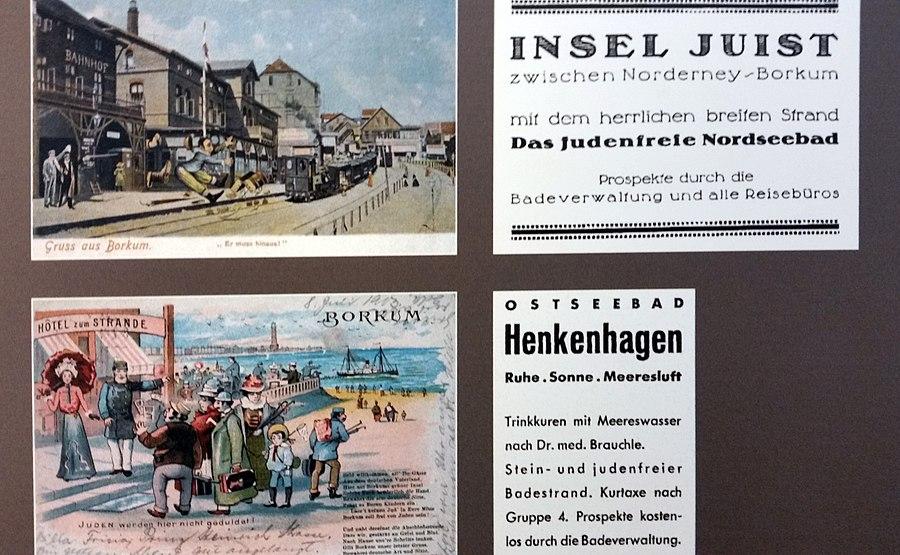 """Antisemitische Grußpostkarten und Anzeigenwerbung von Seebädern mit ,,Judenfrei"""" Anfangs des 20. Jahrhunderts."""