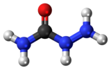Ball-and-stick model of the semicarbazide molecule