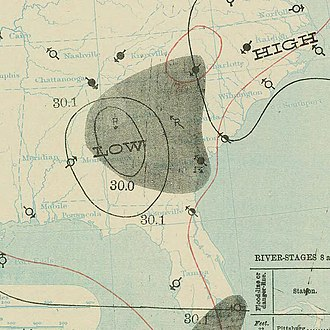 1898 Atlantic hurricane season - Image: September 1, 1898 hurricane 2 map