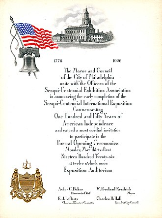 Sesquicentennial Exposition - Engraved invitation to the Opening Ceremonies for the 1926 Sesqui-Centennial Exposition held at Philadelphia, Pa., May 31, 1926