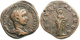 Sestertius - Hostilian under Trajan Decius 250 AD