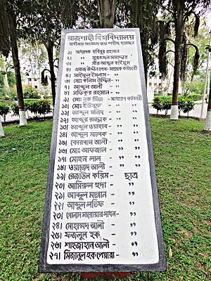 "University of Rajshahi - The description on the memorial says,""Rajshahi University: Those who were martyred during the Liberation war""."