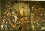 The Buddha surrounded by a halo and a large number of priests and other figures.
