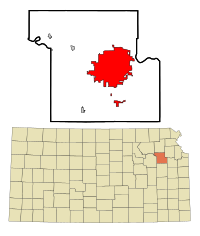 Shawnee County Kansas Incorporated and Unincorporated areas Topeka Highlighted.svg