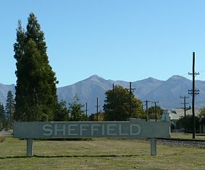 Sheffield, New Zealand - Sign next to SH73 welcoming visitors to Sheffield