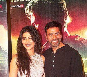 Gabbar Is Back - Shruti Haasan and Akshay Kumar during the film's trailer launch.