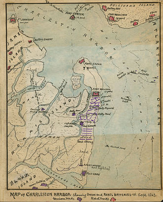 "Second Battle of Charleston Harbor - ""Map of Charleston Harbor Showing Union and Rebel Batteries to September 1863."" Period map drawn by Robert K. Sneden."