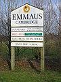 Sign at entrance to Emmaus, Landbeach - geograph.org.uk - 138498.jpg