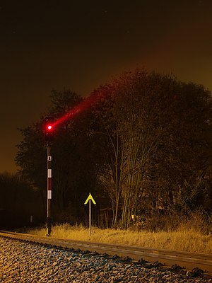 German railroad signals near Meiningen Station
