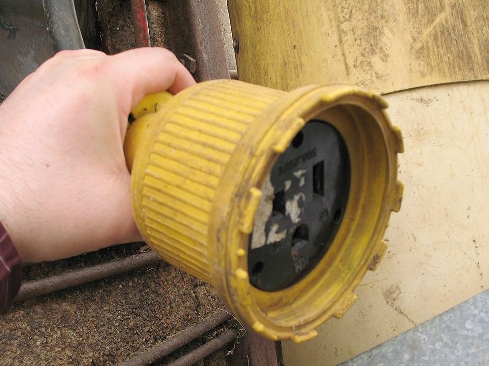 NEMA 6-50 with dustproof flexible shroud, used on a farm silo unloader