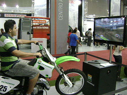 Motorcycle simulator of Bienal do Automovel exhibition, in Belo Horizonte, Brazil. Simuladormotocicleta.jpg