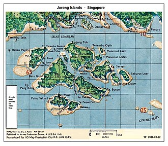 Jurong Island - Extract from Singapore Map - 1945