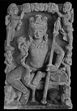 Kartikeya - Sculpture of the god Skanda, from Kannauj, North India, circa 8th century.