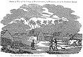 Sketch of a Part of the Village of Honorooroo, in Woahoo, one of the Sandwich Islands (1824, b&w).jpg