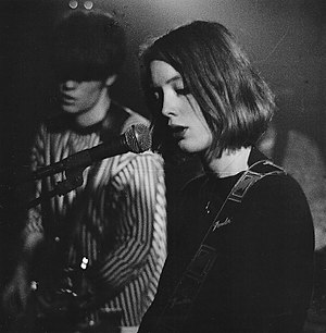 Slowdive - Halstead and Goswell performing with Slowdive in Leicester, 1992.
