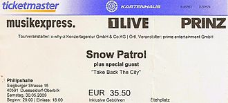 Taking Back the Cities Tour - Ticket for the concert at Philipshalle on 30 May 2009.