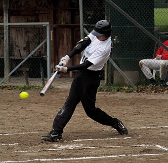 A batter swings at a pitch Softball batter vh.jpg