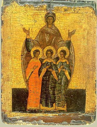 Sophia (given name) - A depiction of Saint Sophia and Her Three Daughters, Faith, Hope and Charity (icon of the Novgorod school, 16th century).