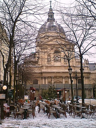 University of Paris - The Sorbonne covered by snow.