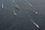 South Korean and U.S. Navy ships are underway in formation with the aircraft carrier USS George Washington (CVN 73), center, off the coast of South Korea Oct. 3, 2013 131003-N-XN177-173.jpg