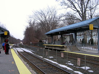 Southborough, Massachusetts - The 7:33 AM Express MBTA Commuter Rail Train about to arrive at Southborough Station on March 7, 2007