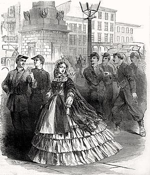 Southern belle - Cover illustration of Harper's Weekly, September 7, 1861 showing a stereotypical Southern belle