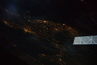 Geography of Italy - Image: Southern Italian Peninsula at Night