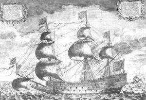 Ship of the line -  Sovereign of the Seas, a contemporaneous engraving by J. Payne