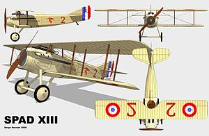 Escadrille 3 - Spad XIII with down-stroke stork insignia