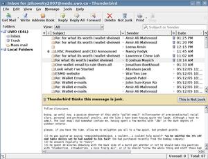 Showing Mozilla Thunderbird detecting spam mes...