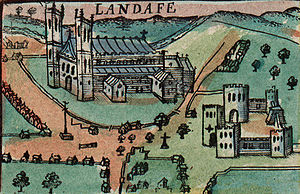 Llandaff Cathedral - A depiction of the cathedral from Speed's 1610 map of Wales