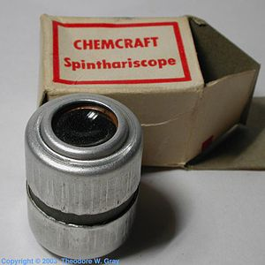 """Spinthariscope - A quality toy spinthariscope taken from a 1950s Chemcraft brand """"Atomic energy"""" chemistry experimentation set"""