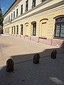 St. Emeric Catholic School and traffic bollards, 2018 Ráckeve.jpg