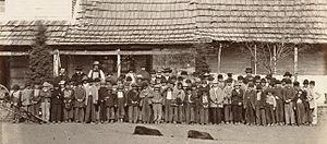 Mission school - Potawatomi boys at St. Mary's Mission, Kansas, ca. 1867