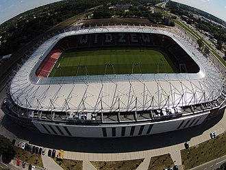 Stadion Widzewa - Aerial view of the reconstructed stadium in 2017