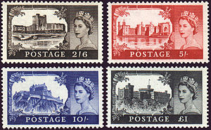 Wilding series - The castles high value definitive stamps of Great Britain.