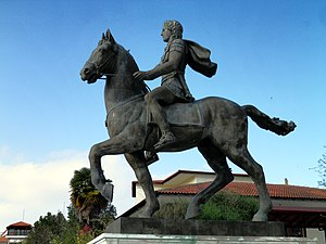 Pella (municipality) - Statue of Alexander the Great riding Bucephalus and carrying a winged statue of Nike (Alexander the Great Square).