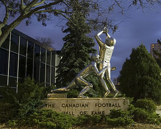 Canadian Football Hall of Fame - Touchdown sculpture.