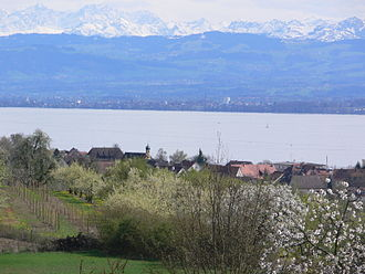 Stetten, Bodenseekreis - View over Stetten and the Bodensee, in the Background the Swiss Alps