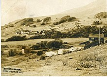 1916 photo postcard of Stinson Beach, showing Airey's Hotel to the left