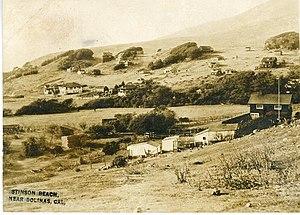 Stinson Beach, California - 1916 photo postcard of Stinson Beach, showing Airey's Hotel to the left