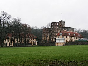 Stjärnorp Castle - Wider view, showing 2 wing buildings.