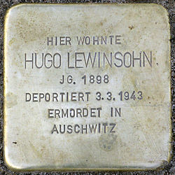 Stolperstein.alt hohenschönhausen.konrad wolf straße 41.hugo lewinsohn.6807