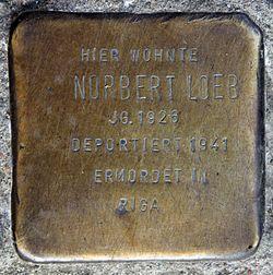 Photo of Norbert Loeb brass plaque