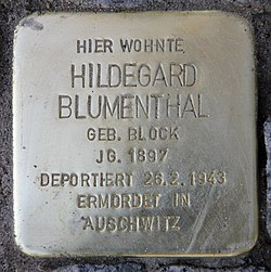 Photo of Hildegard Blumenthal brass plaque
