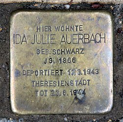 Photo of Ida Julie Auerbach brass plaque