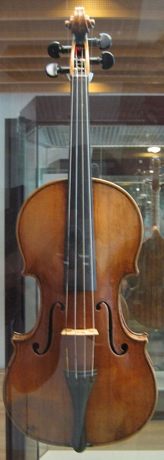 Stradivarius - Antonio Stradivari violin of 1703 on exhibit, behind glass, at the Musikinstrumentenmuseum (Berlin Musical Instrument Museum), 2006