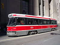 Streetcar on route 504, waiting to travel west at Bay and King -a.jpg