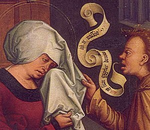 Speech scroll - A 1506 painting by Bernhard Strigel with banderole.